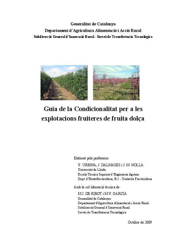 Guia de la Condicionalitat per a les explotacions fruiteres de fruita dolça