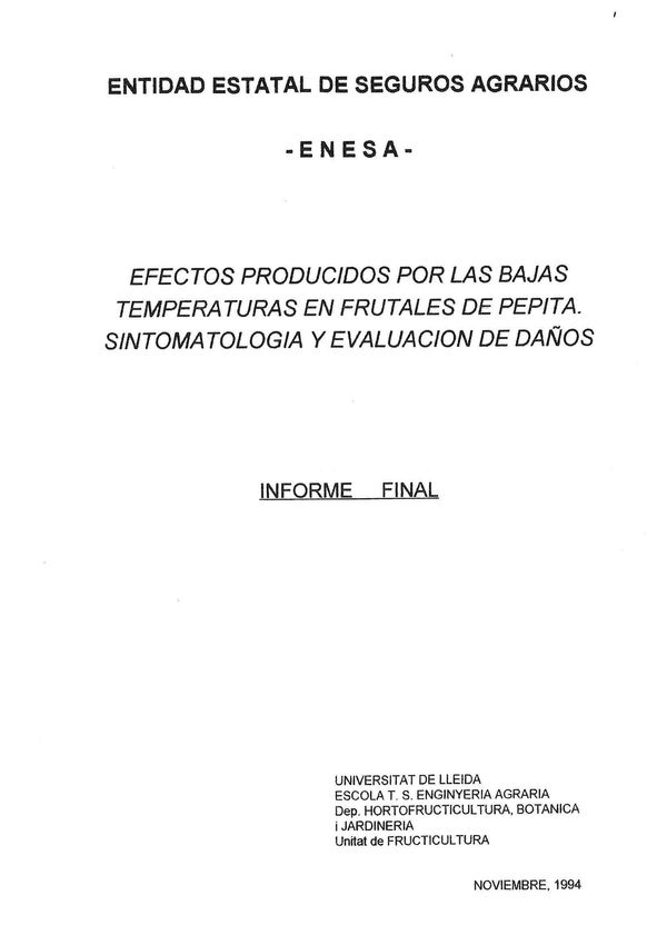 Efectos producidos por las bajas temperaturas en frutales de pepita. Sintomatología y evaluación de daños. 1ª Fase - Análisis documental