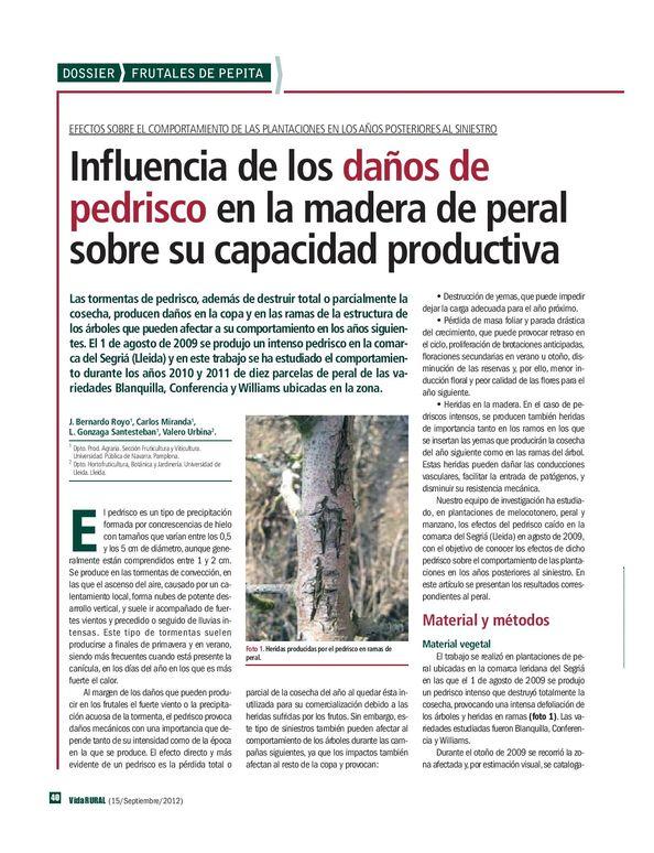 Influencia de los daños de pedrisco en la madera de peral sobre su capacidad productiva.